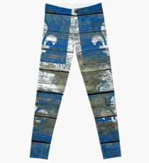 Flag of Quebec on Rough Wood Boards Effect Leggings