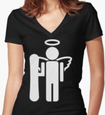 snowboard board angel  Women's Fitted V-Neck T-Shirt