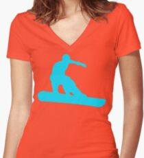 snowboard silhouettes Women's Fitted V-Neck T-Shirt
