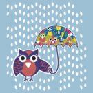 owl rain T-shirt  by teegs