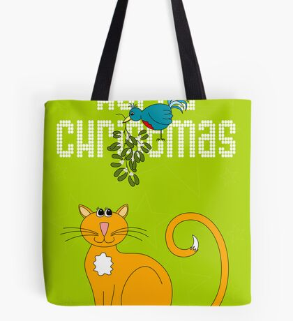 Happy Christmas in White Tote Bag