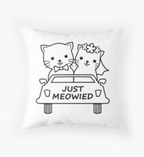 Funny Just Meowied Married Cat Lover Throw Pillow