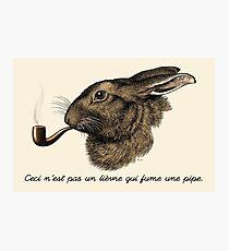 """""""This is not a hare smoking a pipe."""" - Magritte Parody Photographic Print"""