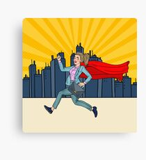 Pop Art Super Business Woman with Red Cape Running with Briefcase.  Canvas Print