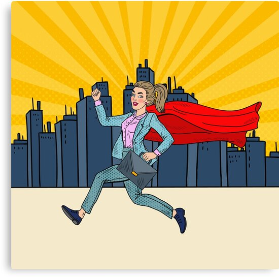 Pop Art Super Business Woman with Red Cape Running with Briefcase.  by ivector