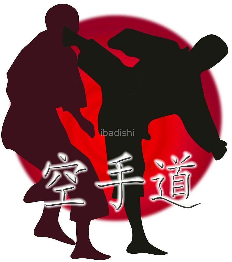 Silhouette of a Karate Fight, Japanese Flag in Background by ibadishi