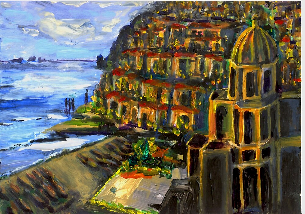 Moon Light Over Positano by Randy Sprout
