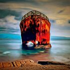 A digital painting of A Wreck in the Balance by Dennis Melling