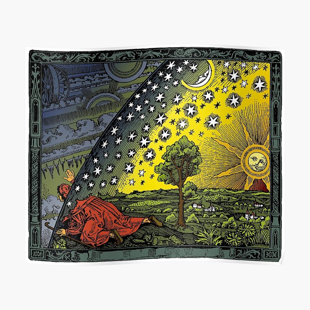 El grabado Flammarion, coloreado a mano Póster