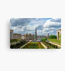 Editorial: 16th April 2017: Brussels, Belgium. High resolution panoramic street view. Famous Kunstberg or Mount of the Arts gardens. Europe. Canvas Print