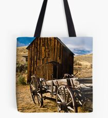 Wagon and shed in Bannack, a Montana ghost town Tote Bag