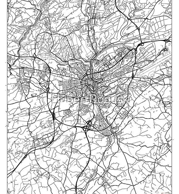 Luxemburg Karte Minimal von HubertRoguski