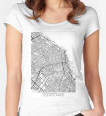Buenos Aires Map Minimal Women's Fitted Scoop T-Shirt