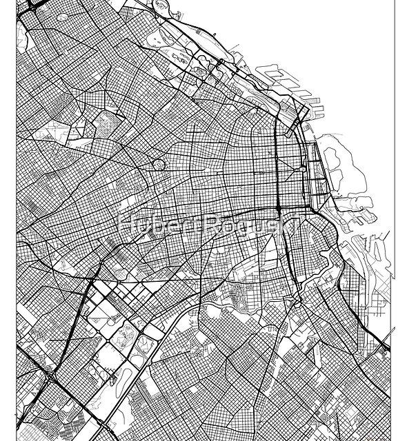 Buenos Aires Karte Minimal von HubertRoguski