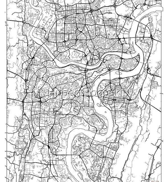 Chongqing Karte Minimal von HubertRoguski