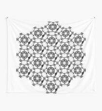 black & white psychedelic geometric design Wall Tapestry