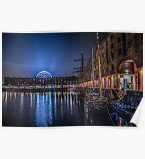 Liverpools Albert Dock at night Poster
