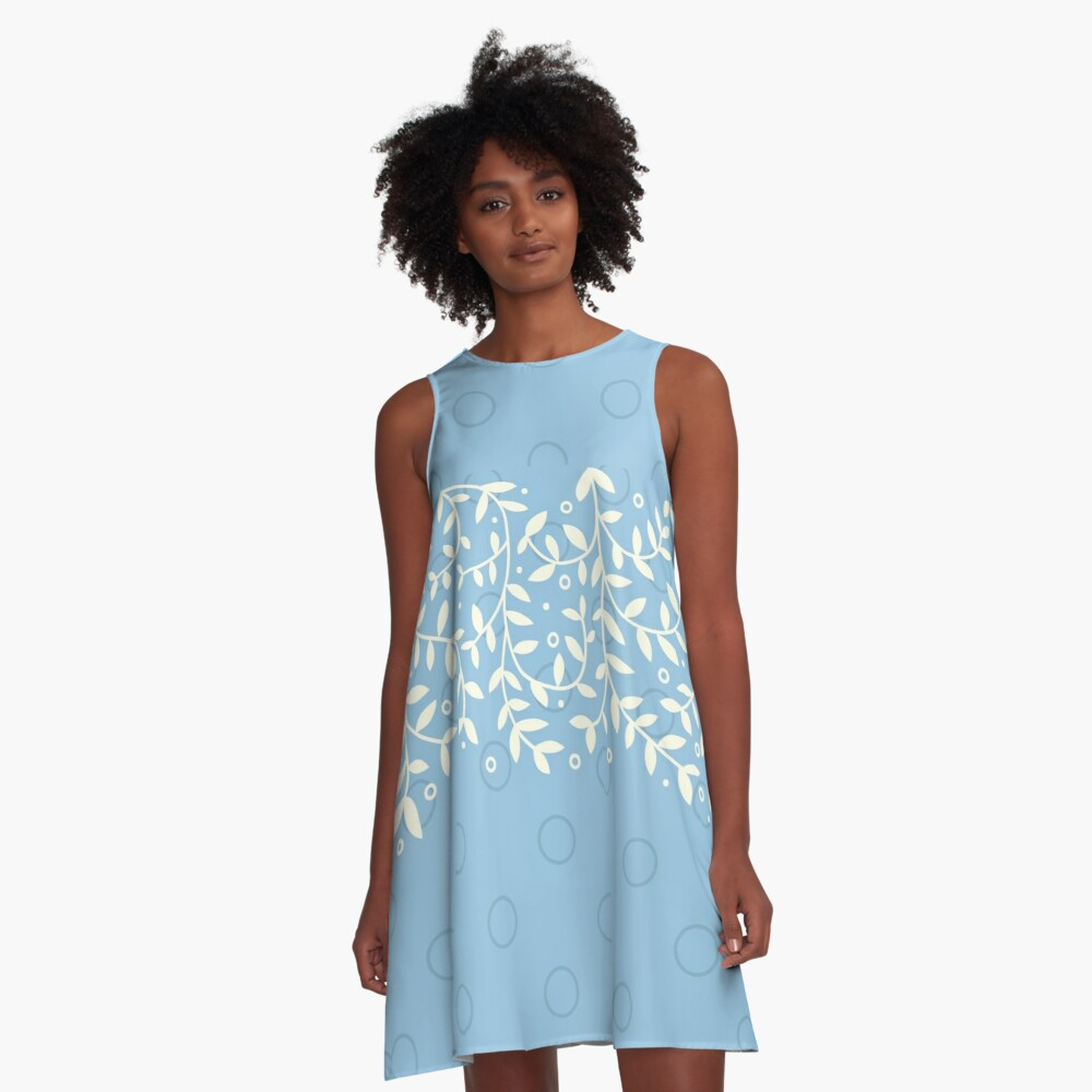 Leaves falling down (light blue & white) A-Line Dress Front