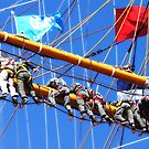 Tall ships 8 men on sails by Monica Di Carlo