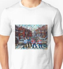 VERDUN POINTE ST CHARLES MONTREAL WINTER IN THE CITY KIDS HOCKEY GAME PAINTING WINDING STAIRCASES C SPANDAU Unisex T-Shirt