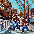 WINTER IN THE RCITY STREET HOCKEY CANADIAN PAINTING MONTREAL SNOW SCENE CAROLE SPANDAU QUEBEC ARTIST by Carole  Spandau