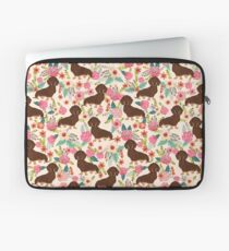 Doxie Florals - vintage doxie and florals gift gifts for dog lovers, dachshund decor, chocolate and tan doxie Laptop Sleeve