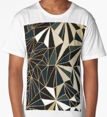 New Art Deco Geometry - Emerald Green & Gold Long T-Shirt