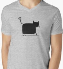 Black cat silhouette Men's V-Neck T-Shirt