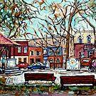 PORTUGUESE PARK QUEBEC ART MONTREAL AUTUMN CITY SCENE URBAN CANADIAN LANDSCAPE PAINTING CAROLE SPANDAU by Carole  Spandau