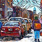 WINTER IN THE CITY MONTREAL VERDUN RUE WELLINGTON WINTER SCENE PAINTING C SPANDAU CANADIAN ARTIST by Carole  Spandau