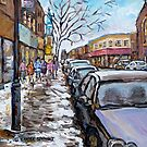 SNOWY SUNDAY VERDUN CHURCHES WINTER IN THE CITY PAINTING MONTREAL STREET SCENE CAROLE SPANDAU ARTIST by Carole  Spandau