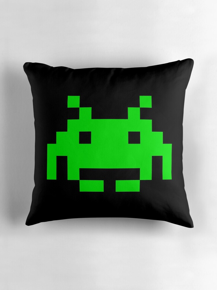 Space invaders alien throw pillows by scammell design for Space design blanket