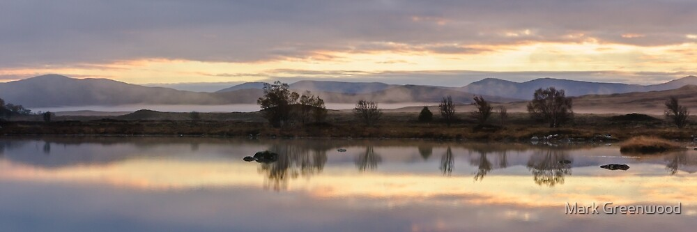 Peach Mist Sunrise on Rannoch Moor by Mark Greenwood