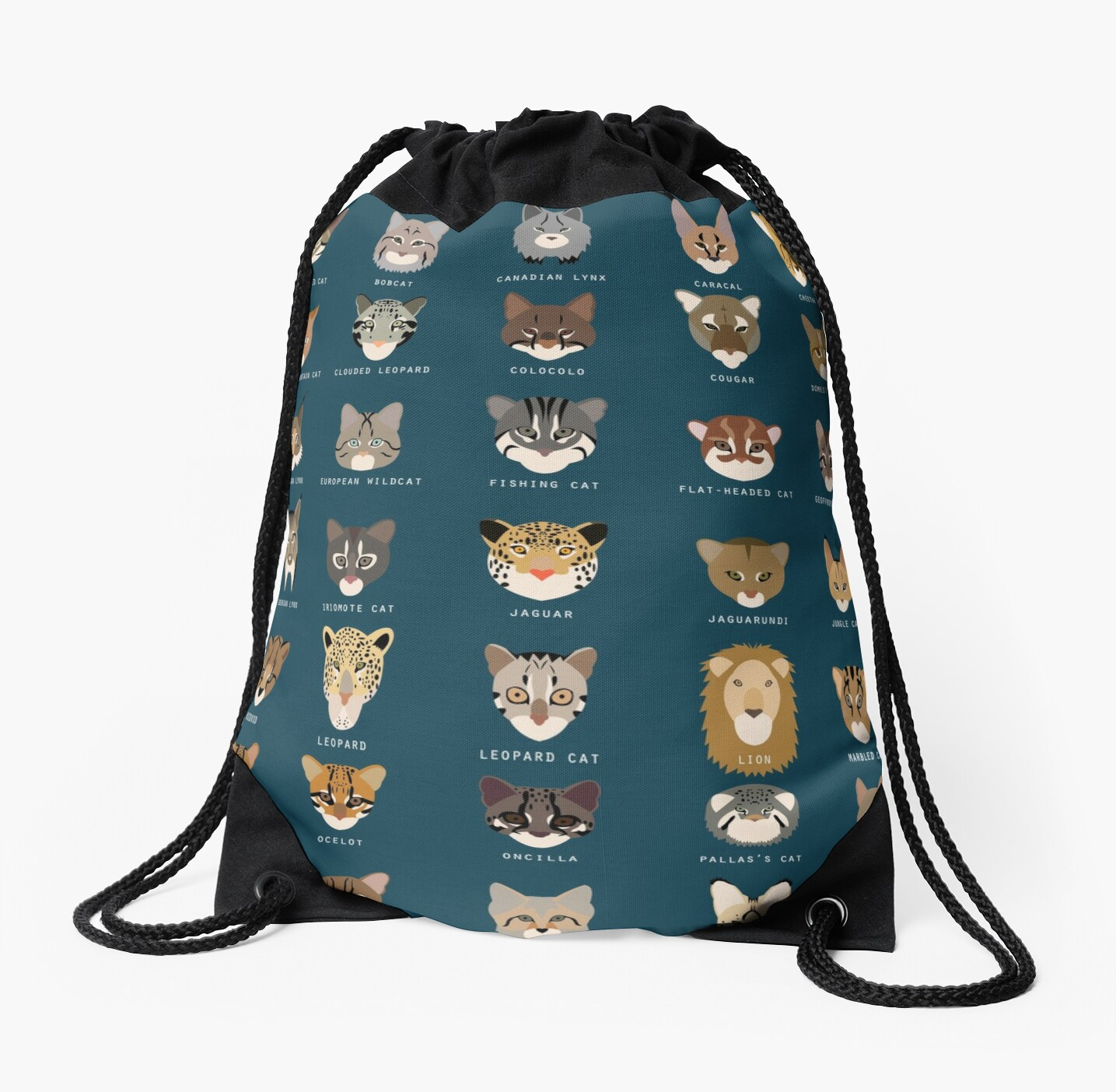 Cat Species Drawstring Bag By Babybigfoot Redbubble