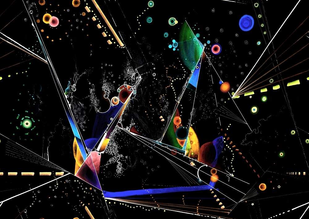 clothing and decor - Spanning the void inverted on black by Regina Valluzzi