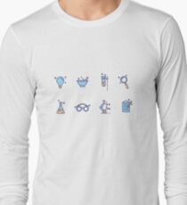 Free Science Laboratory Icons Long Sleeve T-Shirt