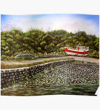 """Kilbaha Harbour, county Clare, Ireland"" - Oil Painting Poster"