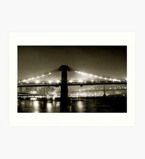 Brooklyn Bridge at night. 1985 Art Print