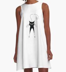 Black cat silhouette A-Line Dress