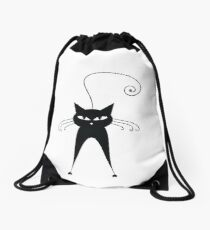 Black cat silhouette Drawstring Bag