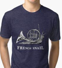 French Snail, French Horn + Snail Hybrid Animal Tri-blend T-Shirt