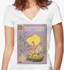Mushroom Book Cover Women's Fitted V-Neck T-Shirt