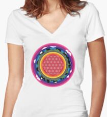Flower Planet (round) Women's Fitted V-Neck T-Shirt