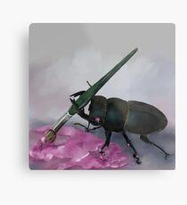 Beetle Holding a Paintbrush - Spike the Beetle Metal Print