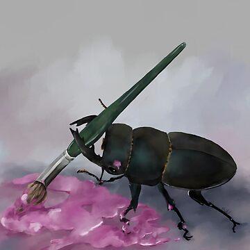 Beetle Holding a Paintbrush - Spike the Beetle by Ela Steel by elasteel