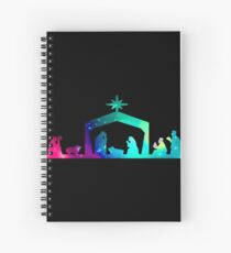 Christmas Nativity Scene- Coloured Spiral Notebook