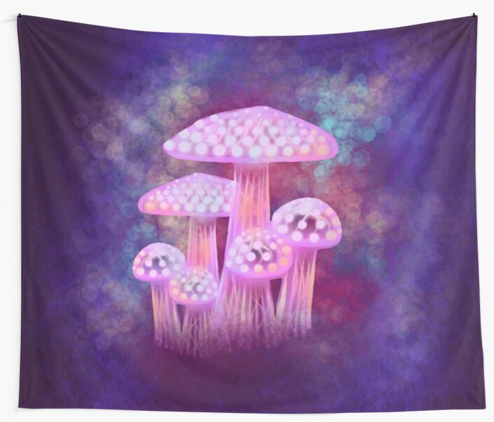 """Pink Glowing Mushrooms"" Wall Tapestries By Awanderingsoul"
