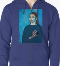 Check Yourself (self portrait) Zipped Hoodie
