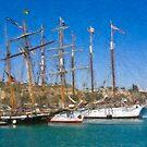 Impasto stylized photo of theTall Ship Exy Johnson, Tall Ship Lynx, Tall Ship Irving Johnson, and Tall Ship American Pride in Dana Point Harbor, CA US. by NaturaLight