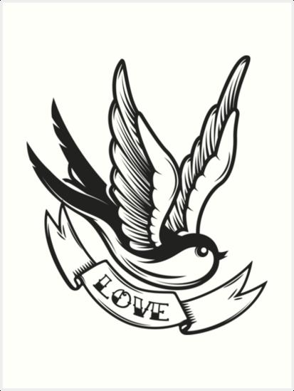Old School Tattoo Swallow Bird Art Prints By Kotliar Redbubble